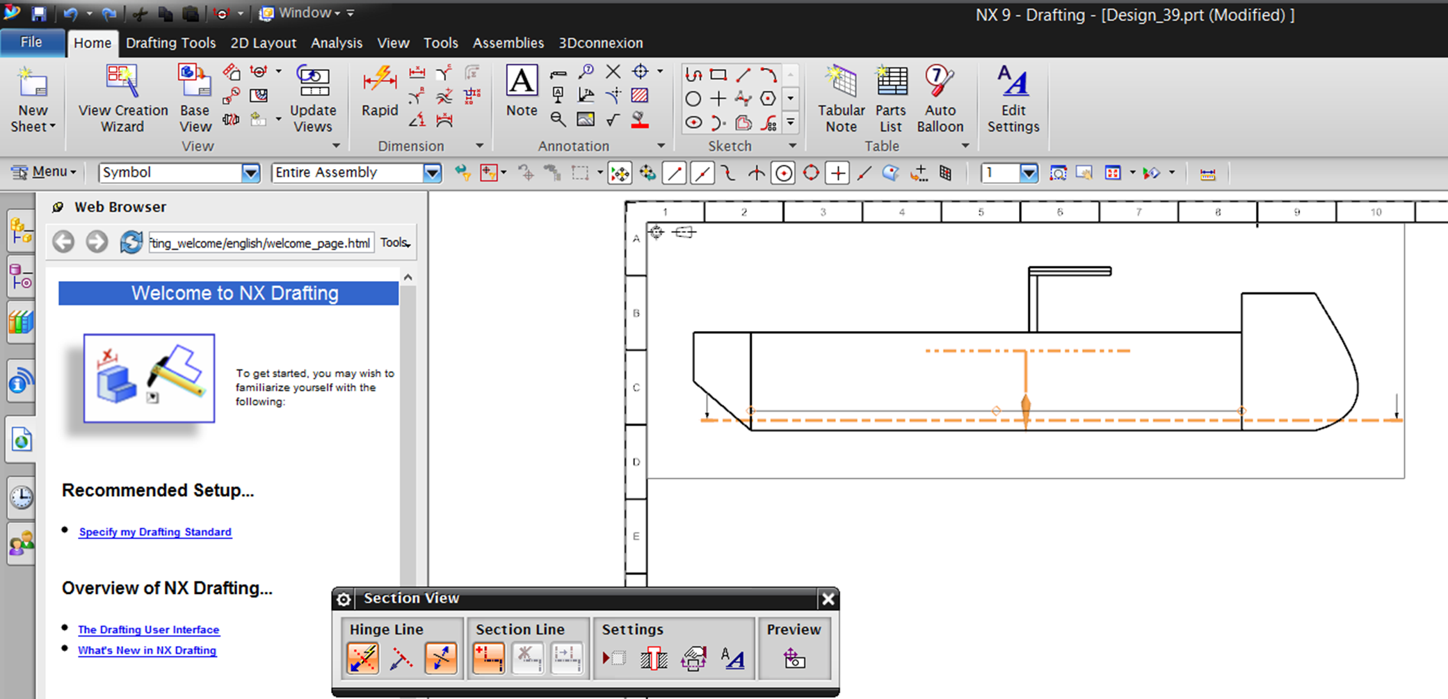 Making a technical drawing in NX-Siemens – Ship Lab